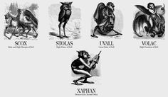 """chaosophia218: """"Names of Demons from Collin de Plancy's ''Dictionnaire Infernal'', 1818. """""""