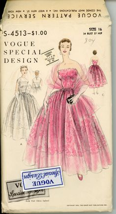 1950s Vogue Wedding Dress Pattern