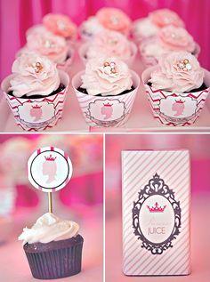 pink princess party cupcakes and printables