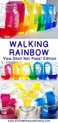 Rainbow science experiment - You Shall Not Pass! The Walking Rainbow science experiment should have been easy, but due to a mistake we discovered a fascinating capillary action and natural balance project. via Walking Rainbow science ex Kid Science, Science Week, Summer Science, Science Party, Science Fair Projects, Preschool Science, Physical Science, Art Projects, Earth Science