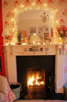 Fireplace with fairy lights flickr photo sharing - 1000 Images About Mantelpiece Christmas Decorations On