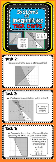 10 Systems of Inequalities Task Cards with student answer sheet and answer key.