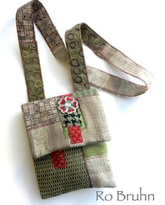 hand made fabric cross body or shoulder BoHo bag in a by robruhn