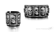 Leather bracelet with silver skulls  0.03ct orange diamond  Design Heidi Vornan  Leather bracelet Jenni Ahtiainen/gTie  Photo Mikael Petterson