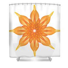 Surreal Shower Curtain featuring the digital art Flower Unus - Abstract Art Print - Fantasy - Digital Art - Fine Art Print - Flower Print by Ron Labryzz