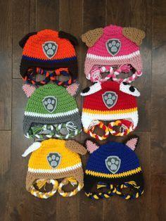 Paw Patrol Crochet Character Hats, Made to Order, Newborn Baby Child Adult Earflap Hat, Photography Prop, Birthday Theme Hat : Pfote Patrol häkeln Charakter Hüte Bestellung Neugeborenes Crochet Hat Earflap, Bonnet Crochet, Crochet Kids Hats, Crochet Crafts, Crochet Projects, Free Crochet, Knitted Hats, Knit Crochet, Crochet Headbands