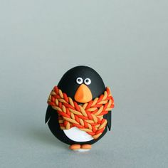 Festive Penguin Brooch  Red and ocher yellow  by Creatureshire
