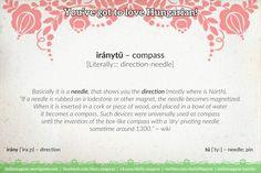 iránytű [ˈiraːɲtyː] – compass [Literally::: direction-needle] #Hungarian #language #unique #compass #iránytű