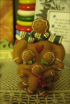 Gingerbread family w three children    Available at Heidi's Cottage Country Home Decor and Gift Store, Dunellen, NJ.  www.heidiscottage.com