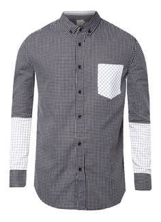 Contrast Plaids Long Sleeve Shirt by 24:01. Made from cotton, with black color, front button, solng sleeve, white accent pocket, regular fit. This unique shirt with black and white color look so simple but stylish. You can Roll this plaid shirt for casual look. http://zocko.it/LDXHW