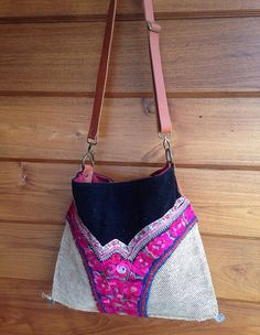 Vintage Hmong fabric beach shoulder bag flower by LavishLanna