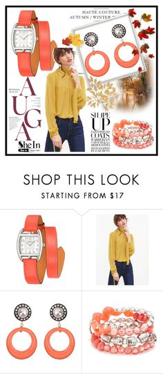 """""""shein"""" by lamifashion ❤ liked on Polyvore featuring Hermès, Julie Sion and Ruby Rd."""