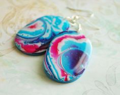 Navy blue pink earrings from polymer clay OOAK  by Rozibuz on Etsy, $22.00