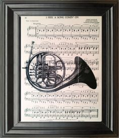 Dictionary Art Vintage French Horn Recycled book print illustration sheet music instrument for him musician under 25 gifts for dad notes
