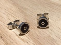 Coffee O studs - handmade in sterling silver & brown resin