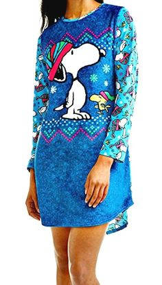 Shop Peanuts Snoopy Womens Nightshirt Pajama Shirt Soft Fleece Nightgown - Blue - and Discover a Huge Selection of Women's Sleepwear at Affordable Price. Snoopy Pajamas, Sexy Lingerie, Fashion Lingerie, Teen Fashion, Womens Fashion, Pajama Shirt, Peanuts Snoopy, Sleepwear Women, Nightgown
