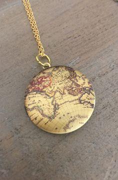 Map Locket Necklace travel wanderlust gold by CHAiNGEthesubject