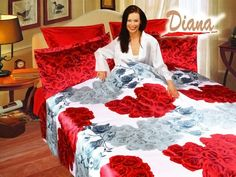 Diana Queen Bed Silk Satin Bedding Floral Duvet Cover Set is silky and elegant with bright red and soft white roses. This Queen sized set includes the luxurious Duvet cover, a fitted sheet, 2 pillow cases, and 2 pillow shams. Queen Size Duvet Covers, Duvet Cover Sets, Silk Sheets, Bed Sheets, Satin Bedding, Bedding Sets, Diana, Queen Beds, Queen Duvet