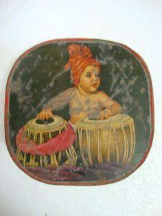 Vintage Rare Small Child Playing Musical Instrument Litho Print Tin Box