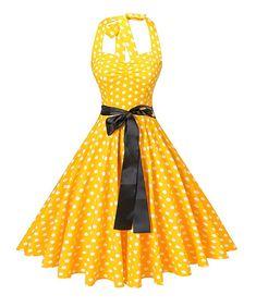 388cf1d630d Amazon.com  V fashion Women s Vintage 1950s Halter Neck Polka Dot Audrey  Hepburn Dress