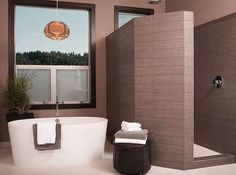 Simple Bathroom Design with Small Bathtub and Walk in Shower