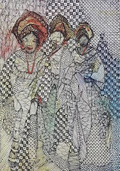 Nike Davies-Okundaye, Dancers with Joy, 2002 Watercolour, pen and ink on paper 17 1/2 x 12 1/2 in 44.5 x 31.8 cm