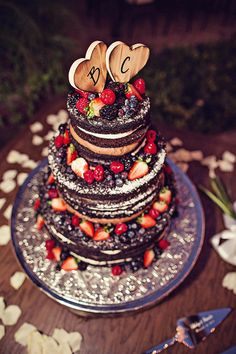 "The Bride wished for a ""naked cake"" Photo by LindenLeaf Photography"