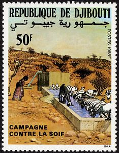 Republique de Djibouti Stamp 1988 - Campaign Against Thirst single Love Stamps, Vintage Stamps, Historical Maps, Mail Art, Stamp Collecting, Science And Nature, France, Mammals, Somali