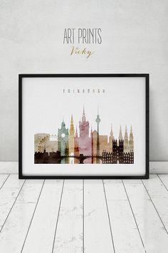 Edinburgh watercolor print, Poster, Wall art, Scotland Edinburgh skyline, City print, cityscape, Home Decor, Travel poster, ArtPrintsVicky