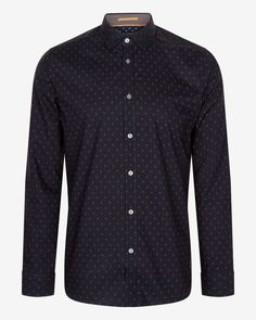 LS GEO PRINT SHIRT - Navy | Outlet | Ted Baker UK