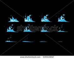 Sprite sheet of a water wave, water splashes, a water strike or something else. Animation for game or cartoon.