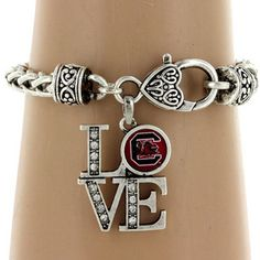 "Discount Crystal Accented University of Tennessee ""LOVE"" Bracelet - Wholesale Accessory Market. Gamecock Nation, Gamecocks Football, College Football, Tennessee Football, Oklahoma Sooners, Alabama Football, Clemson, Ut Longhorns, University Of Tennessee"