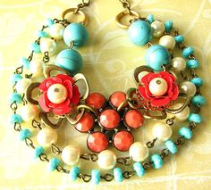 Flower Necklace Turquoise Beaded Necklace Pendant by zafirenia, $51.00
