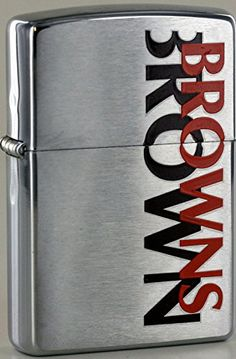 Zippo NFL Cleveland Browns National Football League 2000 Lighter  https://allstarsportsfan.com/product/zippo-nfl-cleveland-browns-national-football-league-2000-lighter/  Brushed Chrome Finish Standard Size Made in the USA
