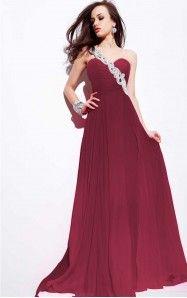 A-line Floor-length One Shoulder Burgundy Dress