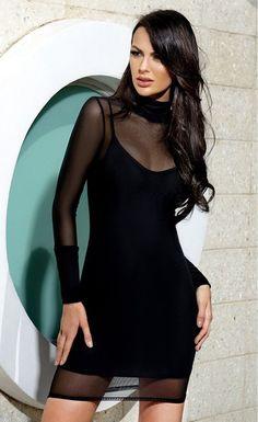 $29.99 Black Mesh Mock Neck Bodycon Dress