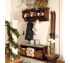 Christmas mud room & stair rail