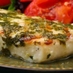Grilled Halibut with Garlic-Cilantro Sauce Recipe Main Dishes with garlic, chicken stock, lime zest, lime, olive oil, chopped cilantro fresh