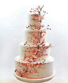 Floral Wedding Cakes Cherry Blossom Wedding Cake - cake by Nasa Mala Zavrzlama - CakesDecor - Painted Wedding Cake, Floral Wedding Cakes, Amazing Wedding Cakes, Wedding Cake Rustic, Elegant Wedding Cakes, Wedding Cakes With Flowers, Wedding Cake Designs, Wedding Cake Toppers, Lace Wedding