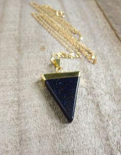 Blue Goldstone Necklace Blue Sandstone Necklace by julianneblumlo