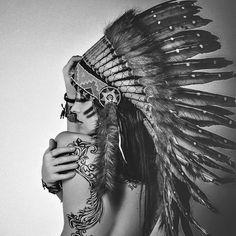 Girl with indian headdress and back tattoo.  #free #wild #indie #indian #headdress #americanindian #nativeamerican #girl #beauty #woman #tattoo #tattooed #tattoos #ink #inked #tattooedgirls #tattooedwomen #art #beautiful #amazing #female #artphoto #photo #photography #blackandwhite #body #bodyart