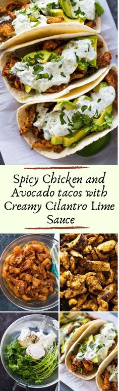 Spicy Chicken and Avocado tacos with Creamy Cilantro Lime Sauce #healthyfood #dietketo  https://WEIGHTLOSS.Revivedlife.net
