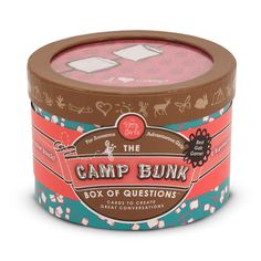 Will probably make something myself but pinning for the idea. (The Box Girls Camp Bunk Box of Questions good for girl scouts! Summer Camp Games, Camping Games, Camping Activities, Camping List, Summer Camps, Camping Guide, Camping Ideas, Scout Games, Girl Scout Activities