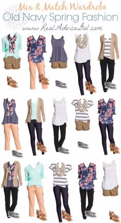 These are great to remind you what to mix and match and how. These items are from Old Navy.