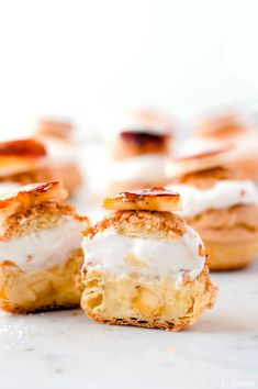 Burnt Sugar Banana Cream Puffs — b. Cream Puff Recipe, Cream Recipes, Choux Cream, Southern Banana Pudding, Burnt Sugar, Easter Snacks, Baking Classes, Bite Size Desserts, Processed Sugar