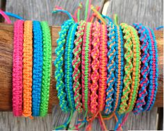 Handmade Neon Bamboo Cord Friendship Bracelet or Anklet - Square or Twist Macrame Knot by PurpleowlProducts on Etsy