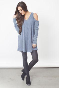 Open Shoulder Dress - Blue