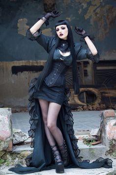 Goth Girl: Model, MUAH: Obsidian KerttuDress: Steampunk PrincessCorset: Villena Viscaria ClothingContact lenses: UniqsoPhoto: John Wolfrik