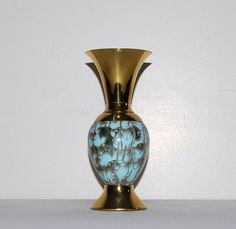 Vintage Aqua on Brass Vase by CheekyVintageCloset on Etsy, $22.00