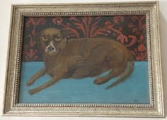 Small Brown Dog original painting folk art  framed by raphaelbalme